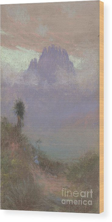 Mountainous Wood Print featuring the painting Untitled Mountain Landscape, 1920, Pastel by Charles Franklin Reaugh