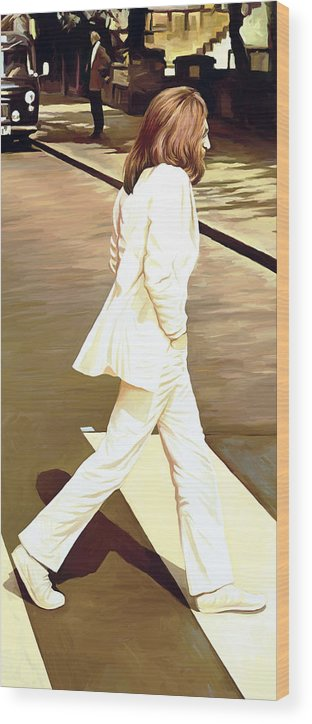 The Beatles Abbey Road Paintings Wood Print featuring the painting The Beatles Abbey Road Artwork Part 4 of 4 by Sheraz A