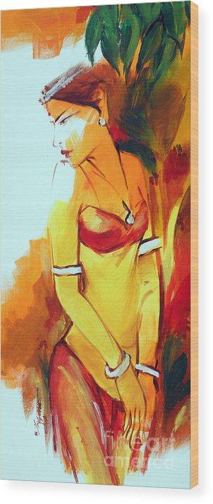 Radha Wood Print featuring the painting Radha by Manish Verma