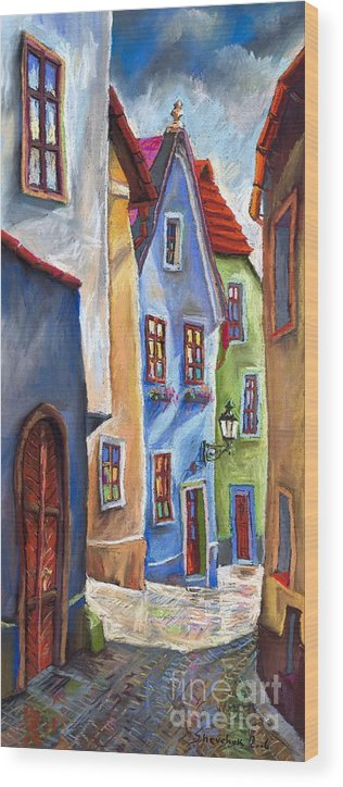 Cityscape Wood Print featuring the painting Cesky Krumlov Old Street by Yuriy Shevchuk