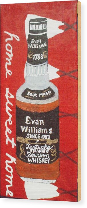 Wiskey  Bottle With Teepees Wood Print featuring the painting Home Sweet Home by Patrice Tullai