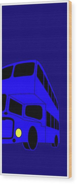 London Bus Is Blue Wood Print featuring the digital art London bus is blue by Asbjorn Lonvig