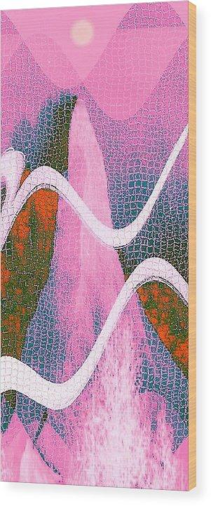 Abstract Wood Print featuring the digital art Mountain side II by Joseph Ferguson