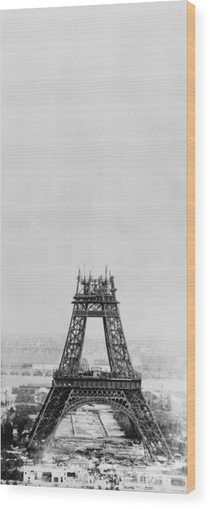 1880-1889 Wood Print featuring the photograph Eiffel Construction 7 by Henry Guttmann Collection