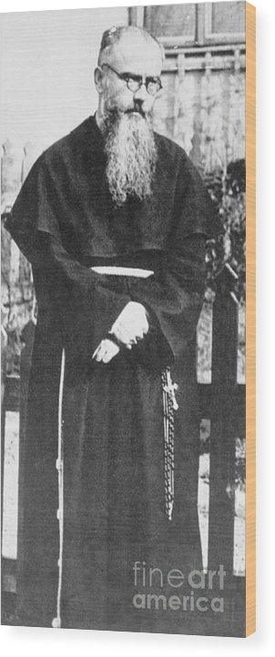 Mature Adult Wood Print featuring the photograph Franciscan Martyr Saint Maximilian Kolbe by Bettmann
