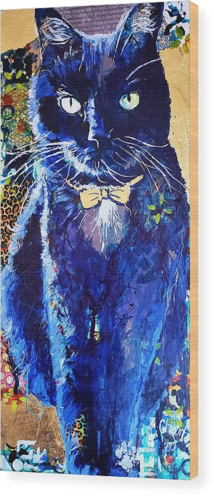 Cat Wood Print featuring the painting His Majesty by Goddess Rockstar