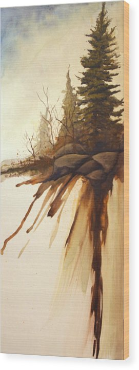 Rick Huotari Wood Print featuring the painting North Woods Pines by Rick Huotari