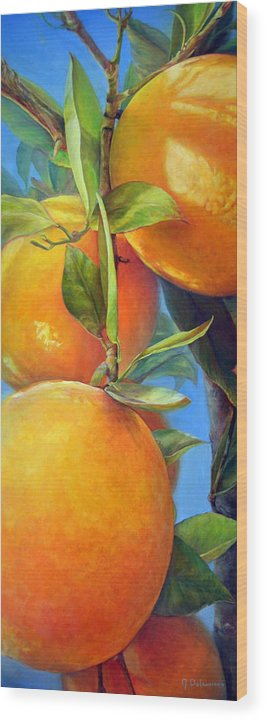 Acrylic Wood Print featuring the painting Tombee d Oranges by Muriel Dolemieux