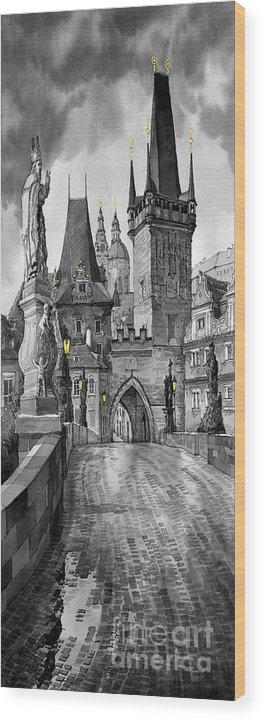Prague Wood Print featuring the painting BW Prague Charles Bridge 02 by Yuriy Shevchuk