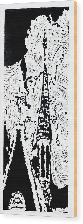 Black Wood Print featuring the painting Faith--Hand-pulled Linoleum Cut Relief Print by Lynn Evenson
