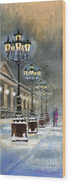 Pastel Wood Print featuring the painting Germany Baden-Baden Kurhaus by Yuriy Shevchuk