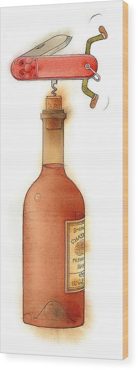 Bottle Wine Knife Kitchen Red Wood Print featuring the painting Master Pocketknife 02 by Kestutis Kasparavicius