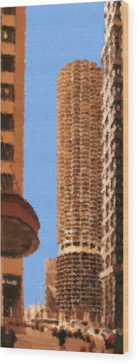 Pancakes Of Chicago Wood Print featuring the mixed media Pancakes of Chicago by Asbjorn Lonvig