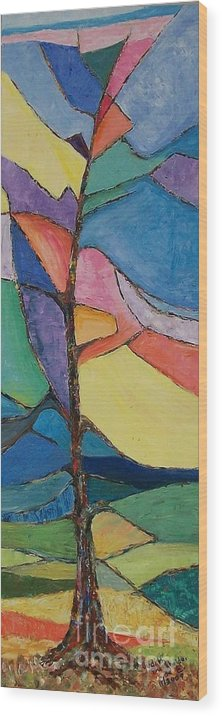 Impressionistic Wood Print featuring the painting Tree Sky Symphony - SOLD by Judith Espinoza