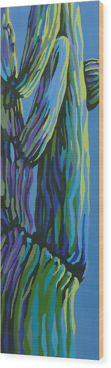 Cactus Wood Print featuring the painting Waking Up by Sandy Tracey