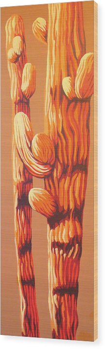 Saguaro Wood Print featuring the painting Blazing Sun by Sandy Tracey