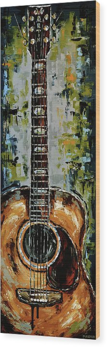 Guitar Wood Print featuring the painting Martin by Magda Magier