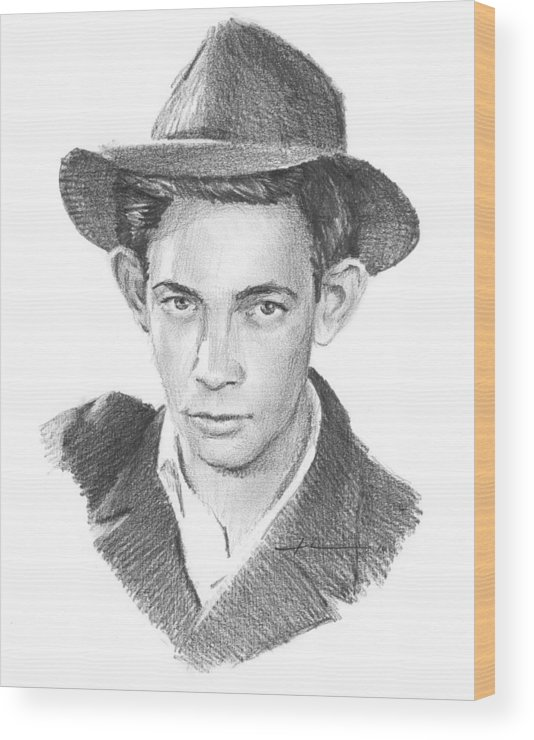<a Href=http://miketheuer.com Target =_blank>www.miketheuer.com</a> Wood Print featuring the drawing 1930s Uncle Pencil Portrait by Mike Theuer