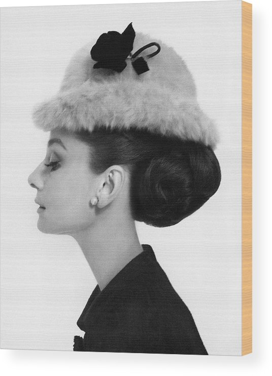 Accessories Wood Print featuring the photograph Audrey Hepburn Wearing A Givenchy Hat by Cecil Beaton