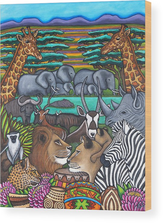 Africa Wood Print featuring the painting Colours of Africa by Lisa Lorenz