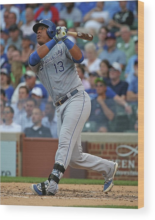 Salvador Perez Diaz Wood Print featuring the photograph Kansas City Royals V Chicago Cubs by Jonathan Daniel