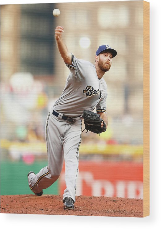 American League Baseball Wood Print featuring the photograph Milwaukee Brewers V Pittsburgh Pirates by Jared Wickerham