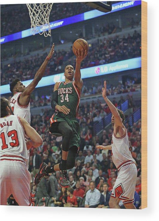 Playoffs Wood Print featuring the photograph Milwaukee Bucks V Chicago Bulls - Game by Jonathan Daniel