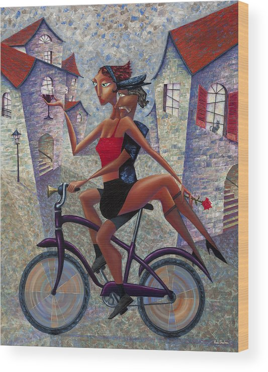 Bicycle Wood Print featuring the painting Bike Life by Ned Shuchter