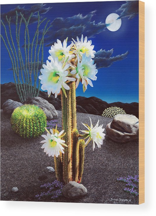 Cactus Wood Print featuring the painting Cactus Blooms by Snake Jagger