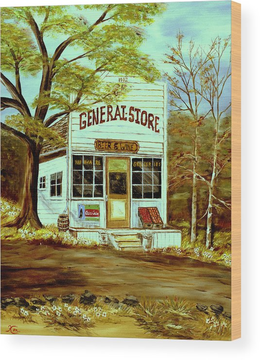 Landscape Wood Print featuring the painting General Store 1902 by Kenneth LePoidevin