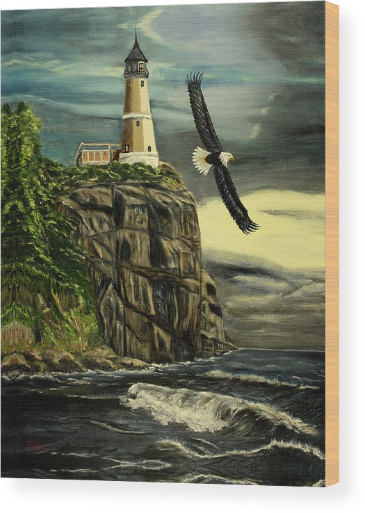 Landscape Wood Print featuring the painting Lighthouse Eagle by Kenneth LePoidevin