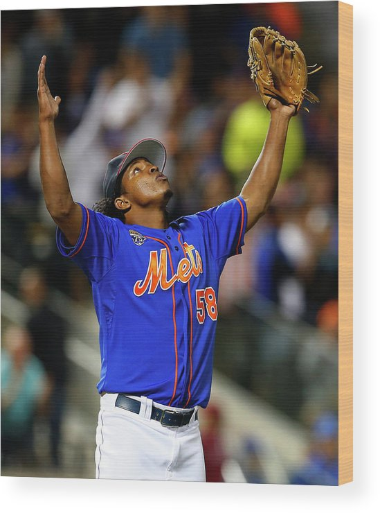 Ninth Inning Wood Print featuring the photograph Texas Rangers V New York Mets by Rich Schultz