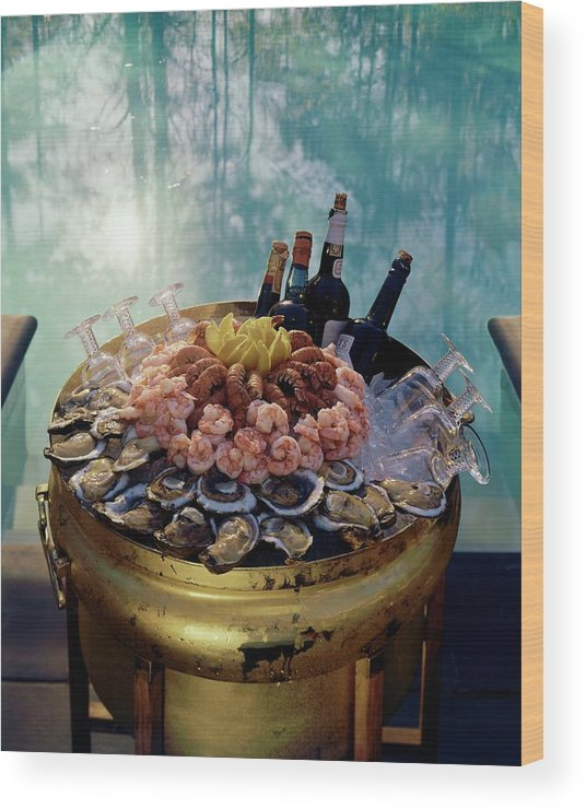Nobody Wood Print featuring the photograph A Bucket Of Shrimp by Ernst Beadle