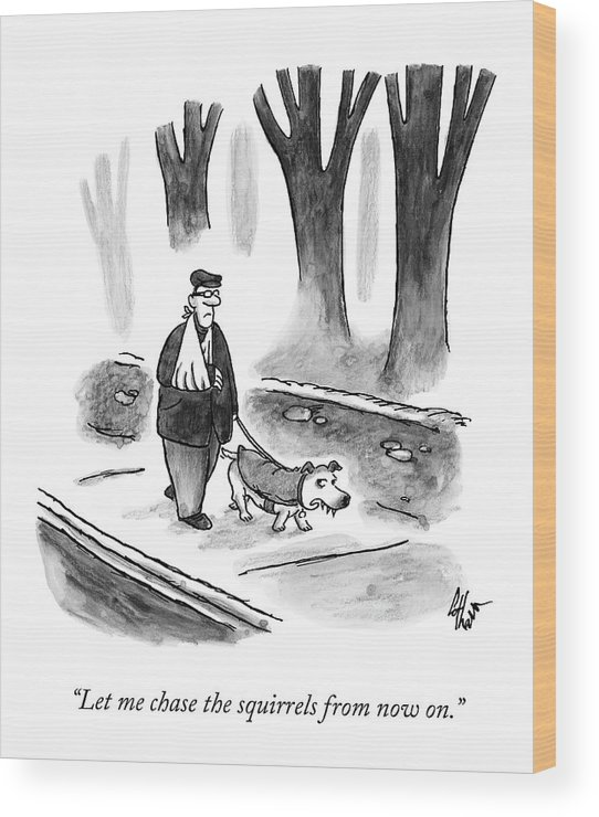 Walk Wood Print featuring the drawing A Man With His Arm In A Sling Walks His Dog by Frank Cotham