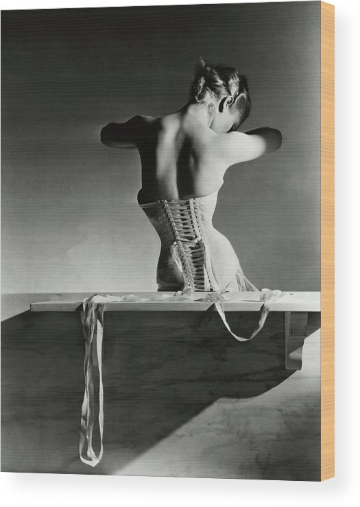 Accessories Wood Print featuring the photograph The Mainbocher Corset by Horst P Horst