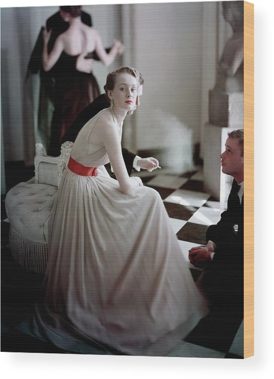 Beauty Wood Print featuring the photograph A Model Wearing A Harry Keiser Dress by Frances Mclaughlin-Gill