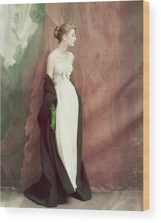 Accessories Wood Print featuring the photograph A Model Wearing A White Dress by John Rawlings