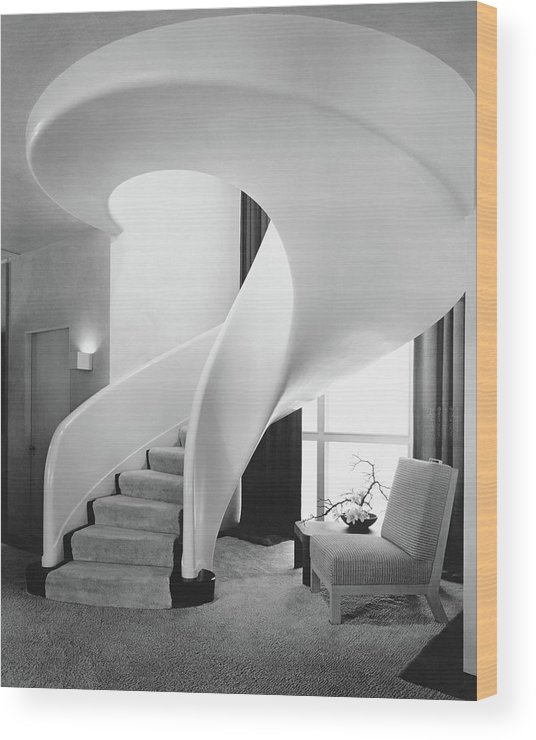 Interior Wood Print featuring the photograph A Spiral Staircase by Hedrich-Blessing
