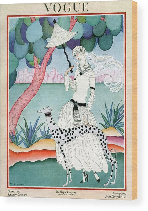 Illustration Wood Print featuring the photograph A Vogue Cover Of A Woman With A Dalmatian by Helen Dryden