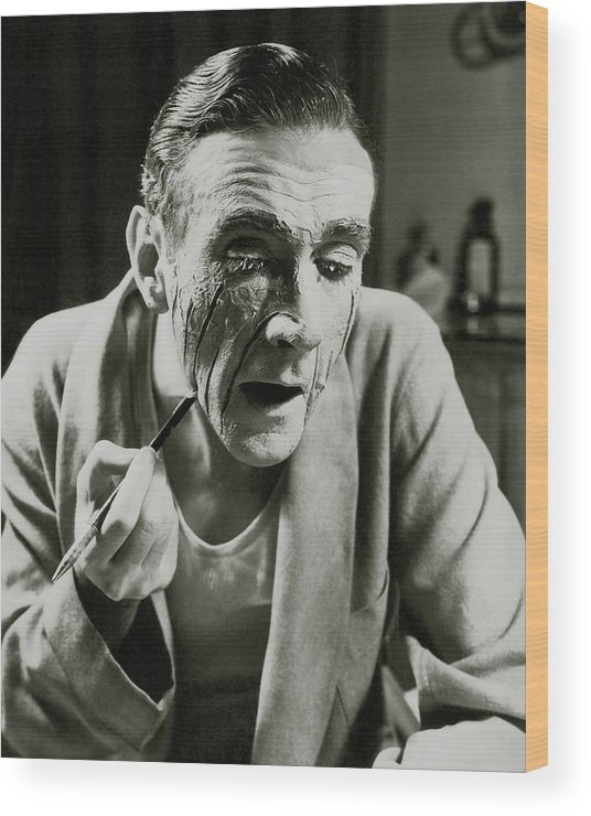 Actor Wood Print featuring the photograph Actor Clifton Webb Applying Make-up by Lusha Nelson