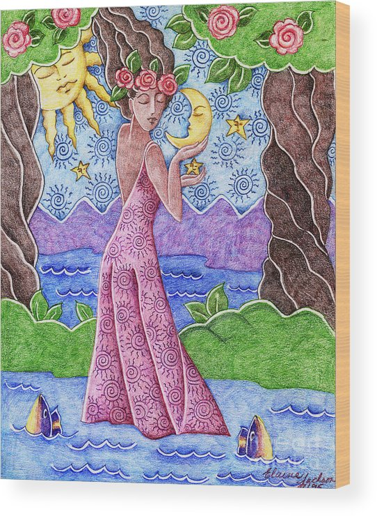 Figurative Wood Print featuring the drawing Adorable Moon by Elaine Jackson