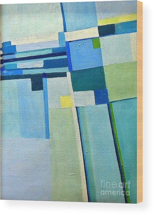 Blue Wood Print featuring the painting Aerial Crossroads by Judith Espinoza