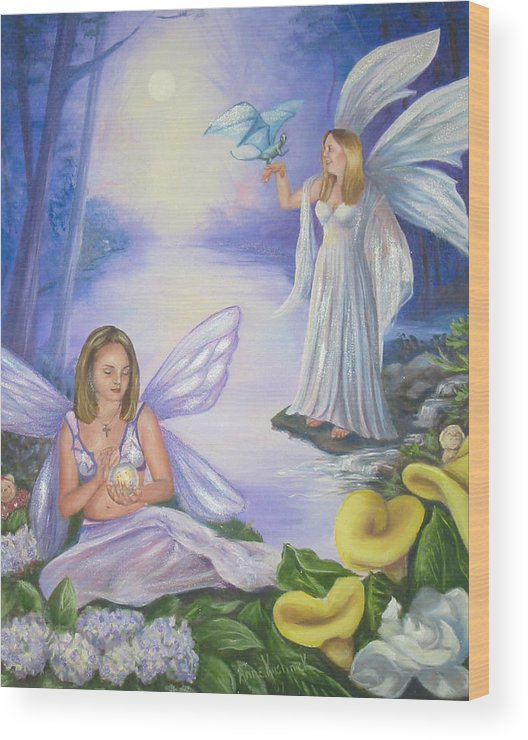 Fairies Wood Print featuring the painting Alyssa and Victoria by Anne Kushnick