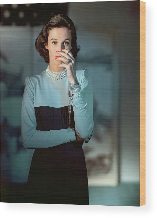 Society Wood Print featuring the photograph Babe Paley Wearing A Traina-norell Dress by Horst P. Horst