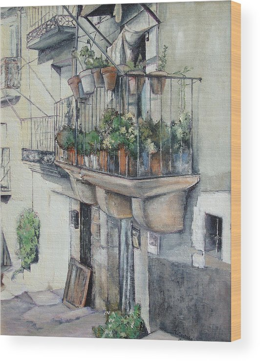 Fermoselle Wood Print featuring the painting Balcon de piedra by Tomas Castano