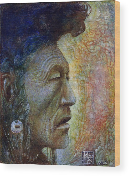 Bear Bull Wood Print featuring the painting Bear Bull Shaman by Otto Rapp