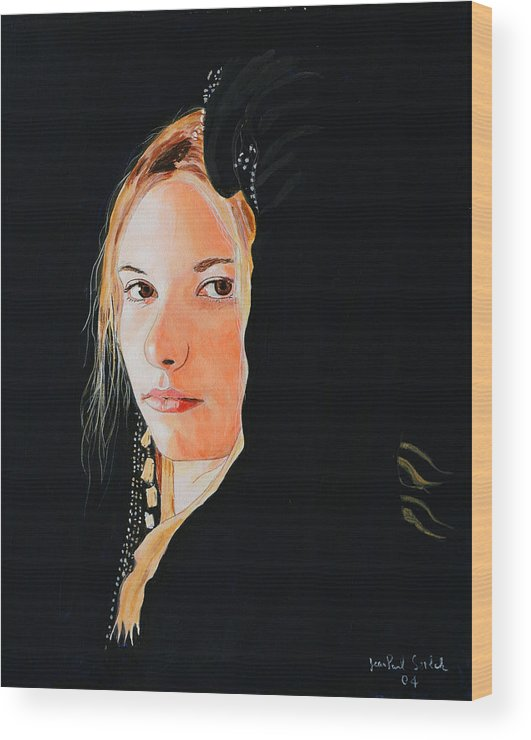 Black Princess Wood Print featuring the painting Black Princess - Eyes of Fire by Jean-Paul Setlak