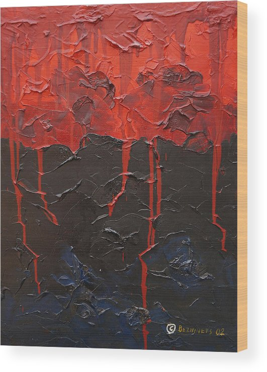 Fantasy Wood Print featuring the painting Bleeding sky by Sergey Bezhinets