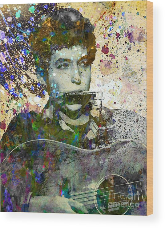 60s Wood Print featuring the painting Bob Dylan Original Painting Print by Ryan Rock Artist