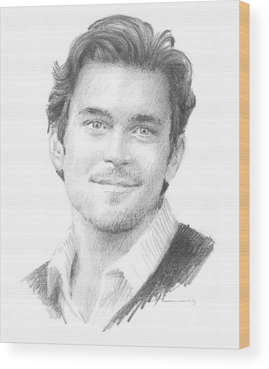 <a Href=http://miketheuer.com Target =_blank>www.miketheuer.com</a> Book Character 1 Pencil Portrait Wood Print featuring the drawing Book Character 1 Pencil Portrait by Mike Theuer